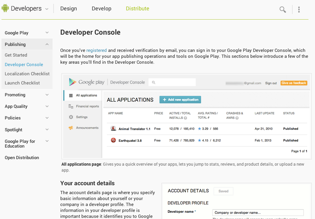 Developer console android developers - Android google developer console ...